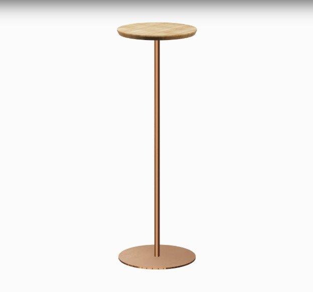 Koffietafel Mogelijkheid Collectie met houten blad en koperen onderstel