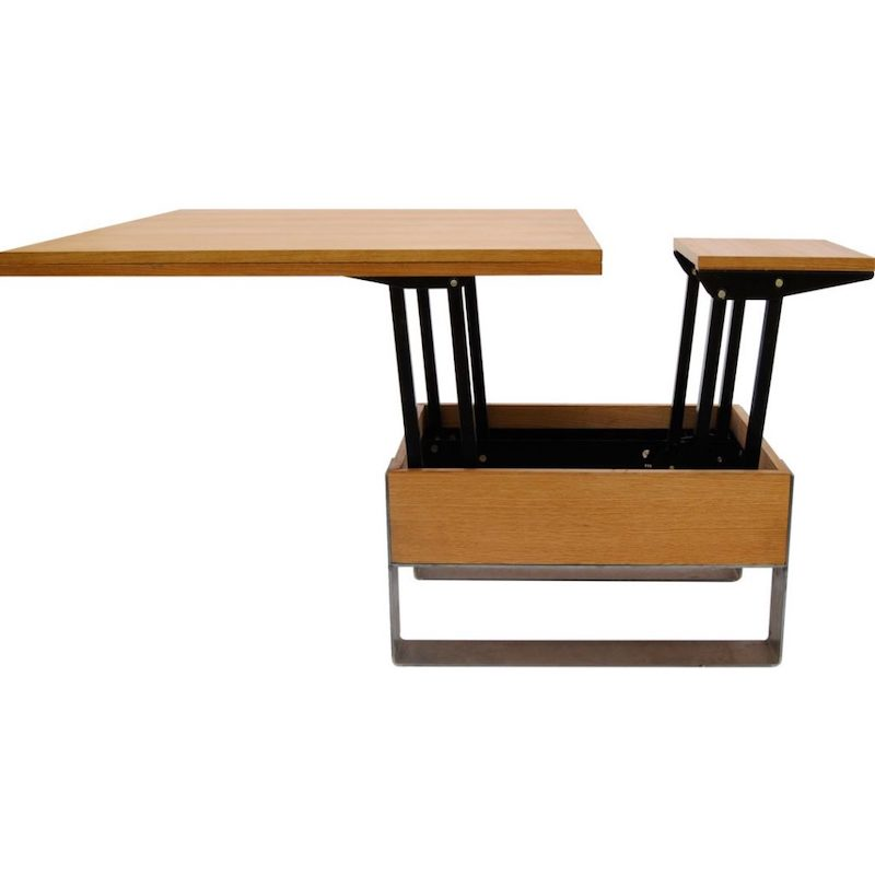 verstelbare tafel hout en metaal