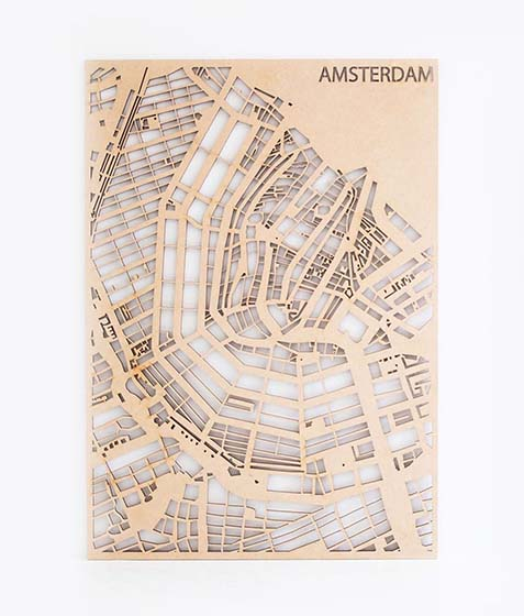 Houten Stadskaart Amsterdam