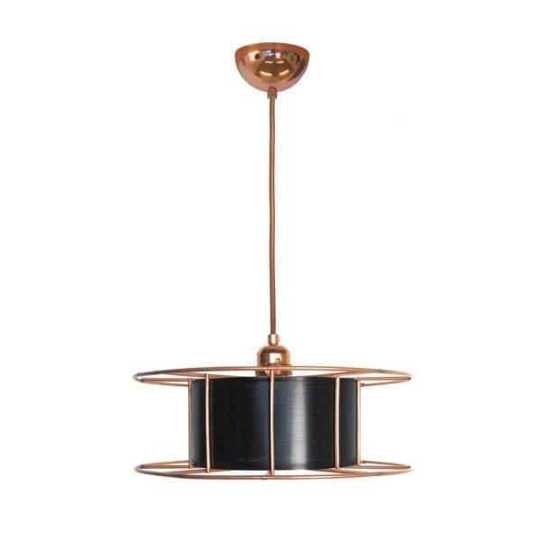 De SPOOL met zwarte kap van Tolhuijs Design is een duurzame koperen hanglamp van gerecycled materiaal bij Studio Perspective.