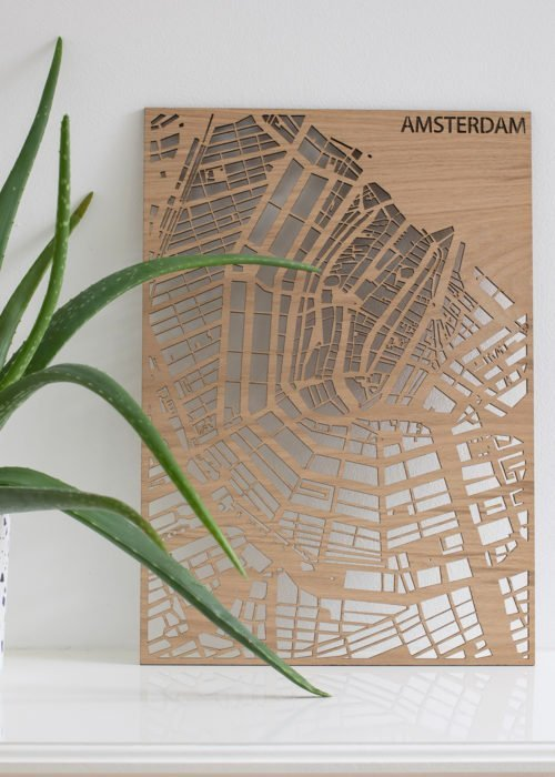 Maatwerk Stadsplattegrond eikenfineer PlanqKaart