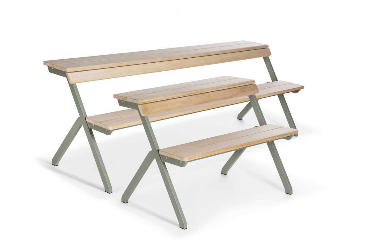 Weltevree-Tablebench-4-seater-Acooya-wood-indoor-cafe-setting