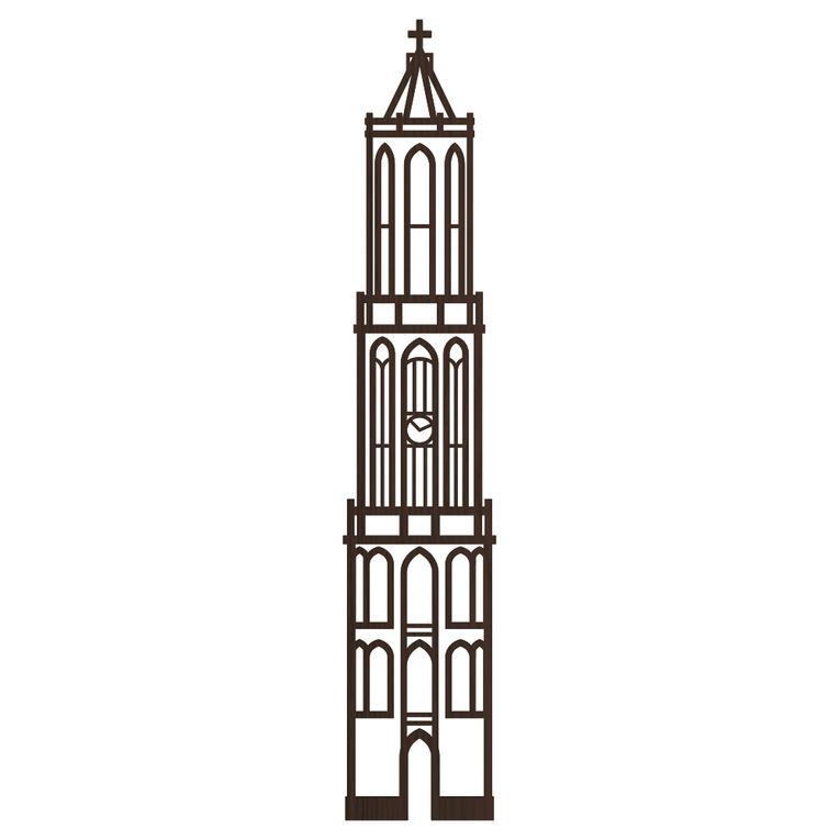 Grote houten wanddecoratie stadstoren Zwolle