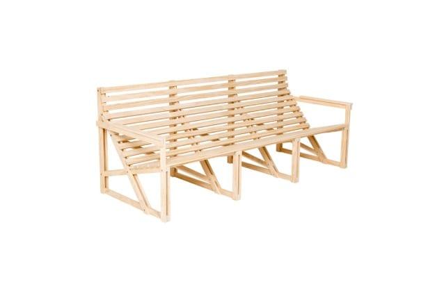 Patiobench 4-5 seater gele tuinbank van duurzaam hout bij Studio Perspective