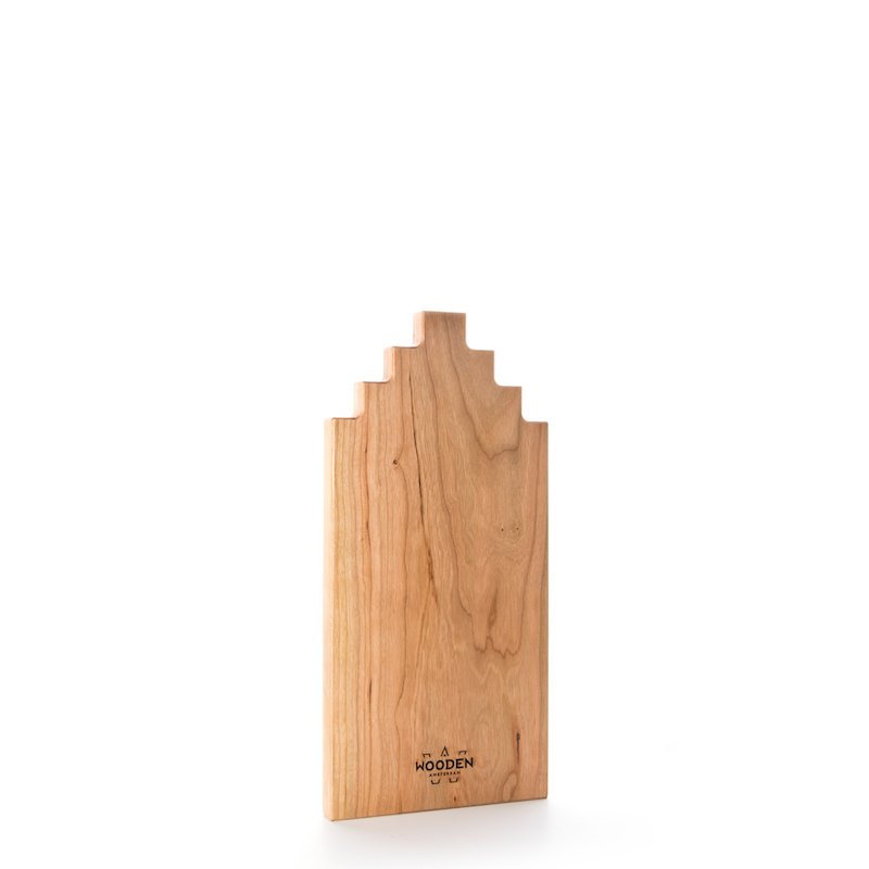 Wooden Amserdam Serveerplank Kersenhout Grachtenpand bij Studio Perspective