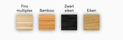 Koffietafel Mogelijkheid Collectie met zwart eiken blad en koperen onderstel