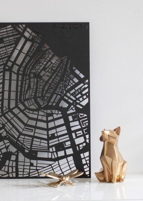 PlanqKaart stadskaart op maat zwart