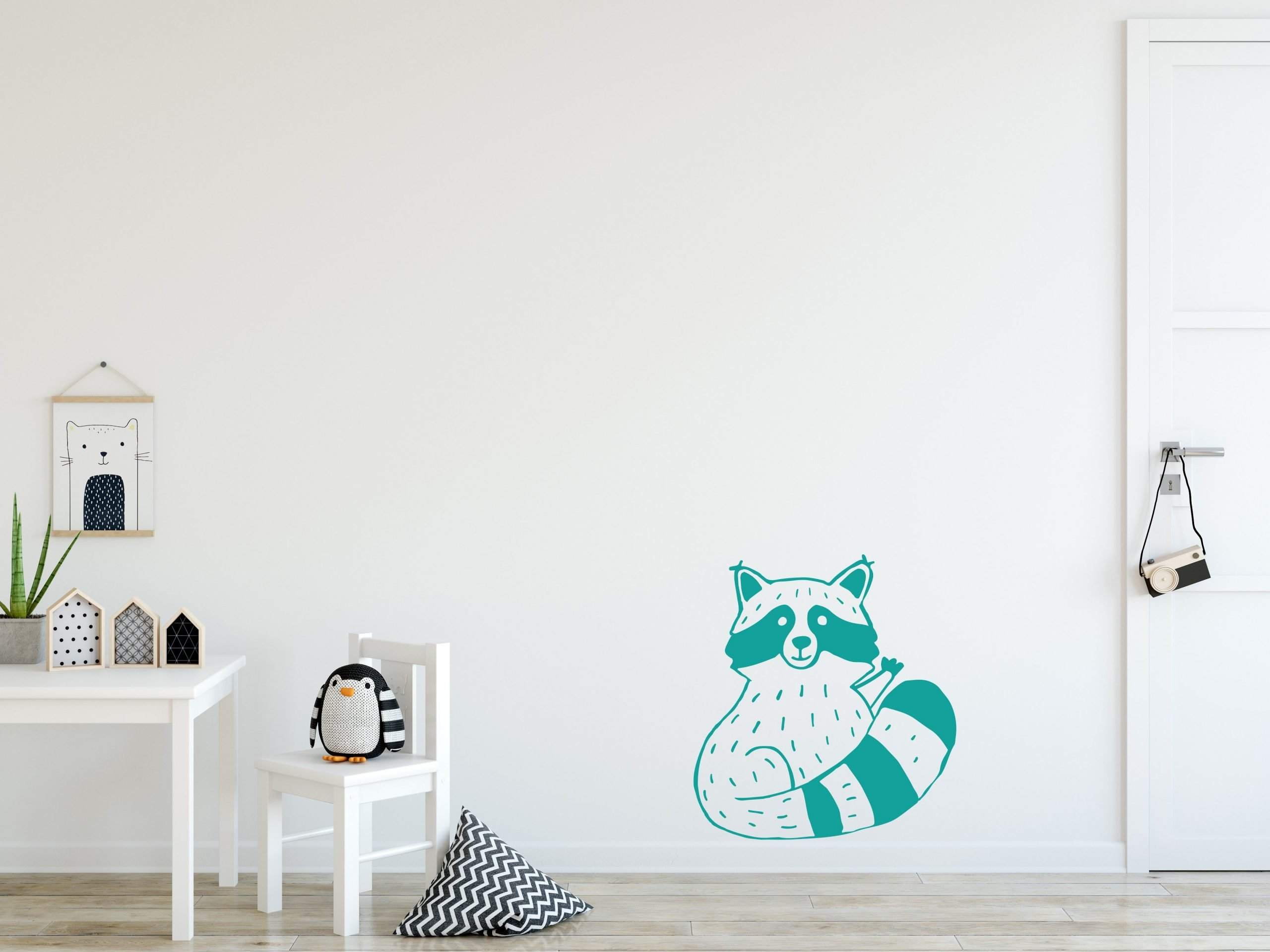 Muursticker Wasbeer Turquoise