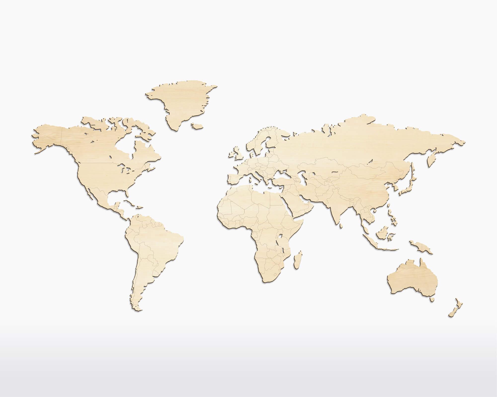 Wooden Amsterdam wereldkaart van walnotenhout