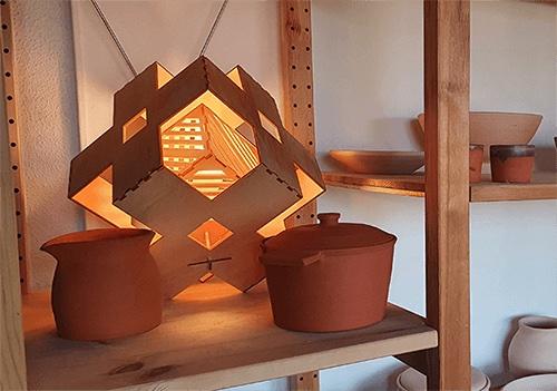 Houten design verlichting Cube duurzaam bij Studio Perspective