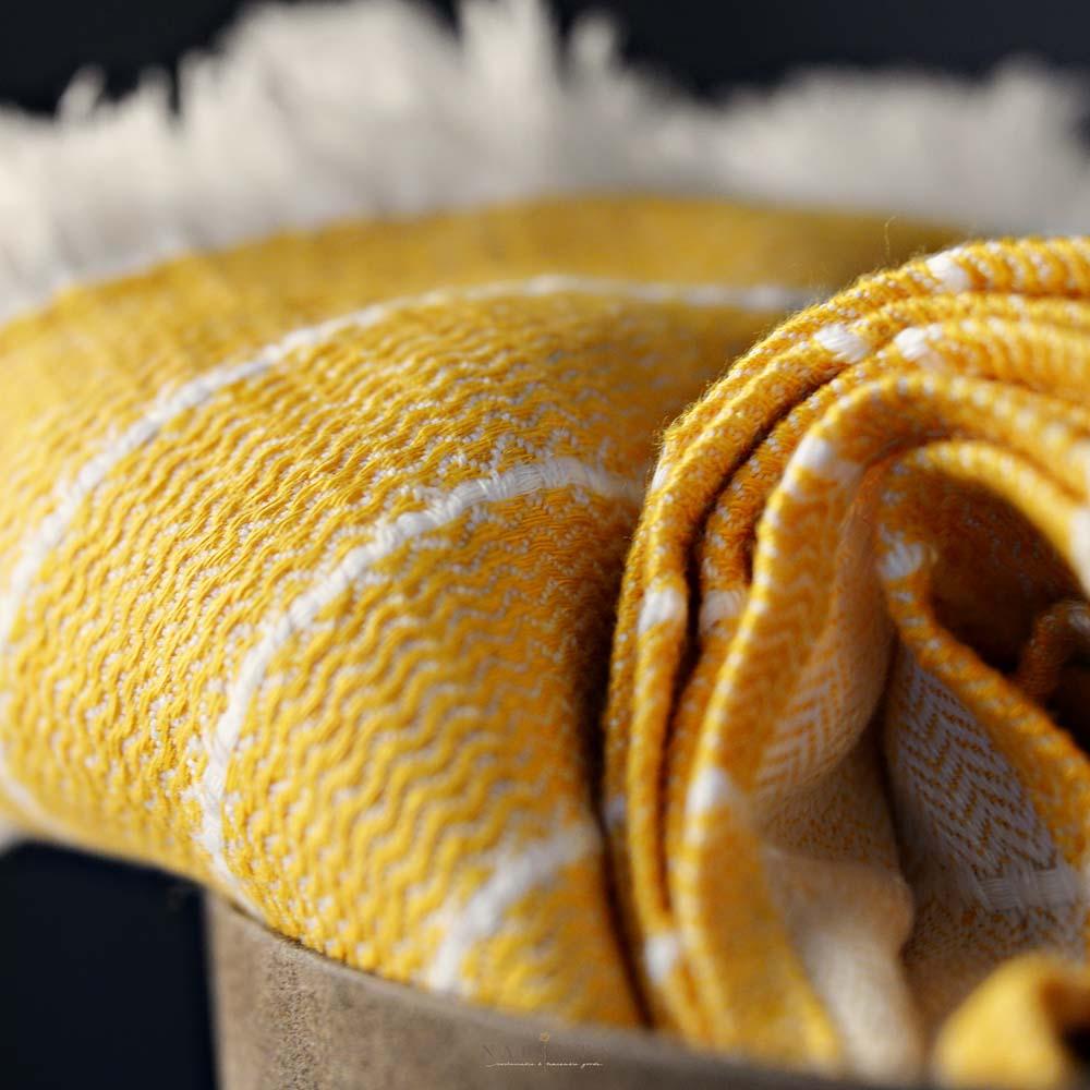 Wave plaid geel duurzaam linnen