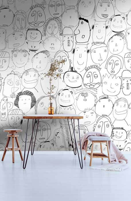 Behang zwart wit gezichten Heppie door Mij bij Studio Perspective