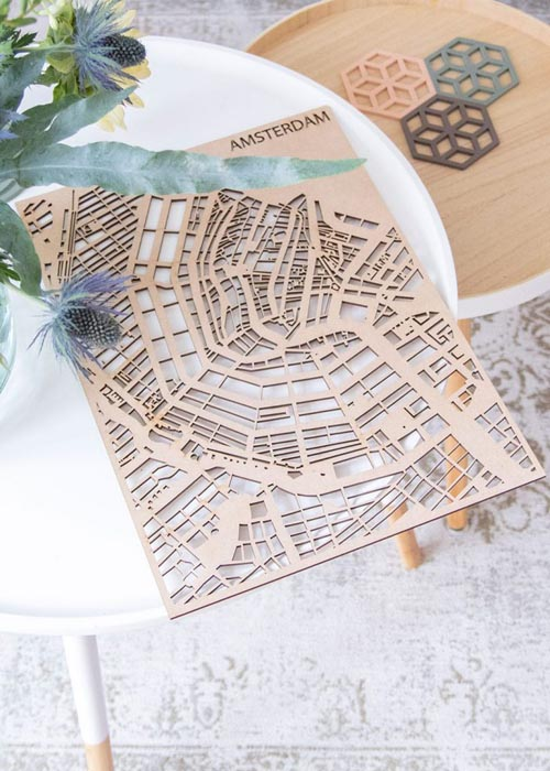 Maatwerk stadsplattegrond MDF PlanqKaart