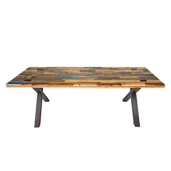 Able Pallet Hout is een houten tafel met metalen onderstel van Tolhuijs Design. Duurzame eet- en werktafel bij Studio Perspective.