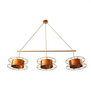 Spool Triple Deluxe van Tolhuijs Design is een koperen Design lamp. Duurzame en prachtige lamp voor boven je eettafel en werkplek.