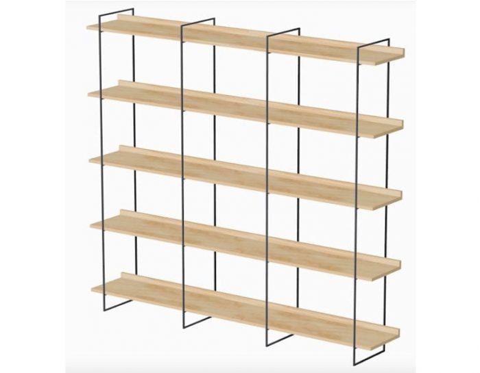 De WANDKAST uit de Mogelijkheid Collectie met zwart metalen frame en Fins Multiplex houten legplanken is een maatwerk designkast. Wandkast Hutspot online te koop bij Studio Perspective