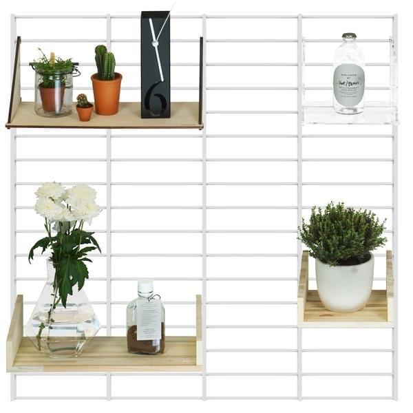 Fency Pakket Roomie van Tolhuijs is een modulair wandrek, gemaakt van gerecyclede materialen bij Studio Perspective.