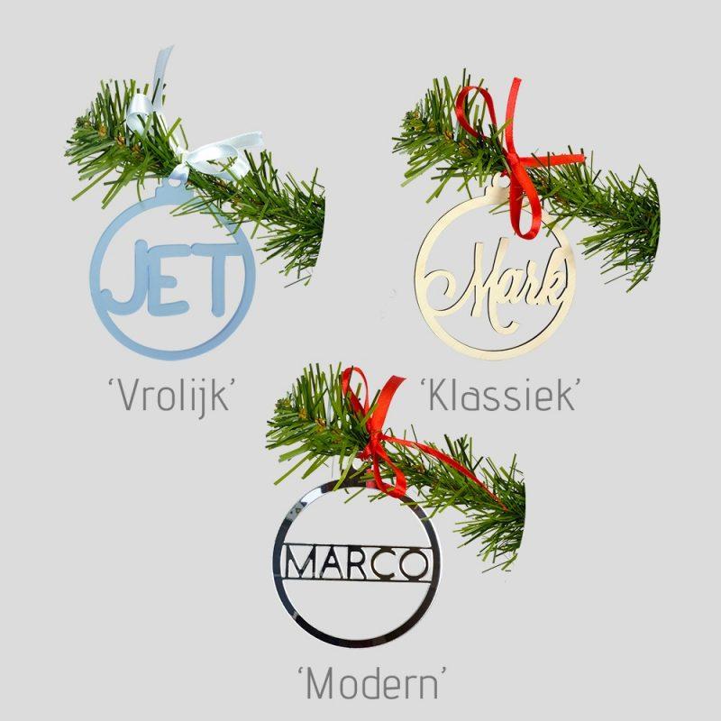 Naamkerstbal hout uniek handgemaakte kerstdecoratie Studio Perspective