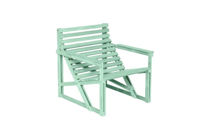 Weltevree Patio easy Chair houten tuinstoel van duurzaam hout in kleur geel.
