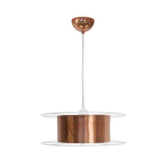 Spool White Deluxe is een koperen hanglamp met witte details van Tolhuijs Design. Duurzame designlamp met een industriële look.