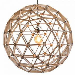 Bollelamp ø100cm van Binthout is een handgemaakte, duurzame ronde houten lamp in blank of zwart hout bij Studio Perspective.