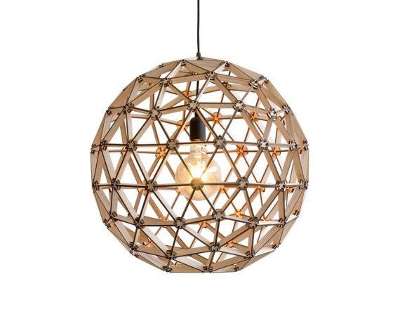 Bollelamp ø60cm van Binthout is een houten geraamten lamp van duurzaam hout bij Studio Perspective.