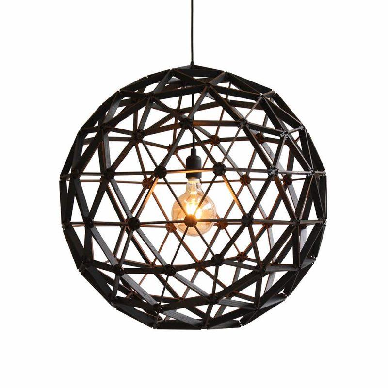 Bollelamp ø75cm van Binthout is een houten hanglamp in zwart of naturel bij Studio Perspective.