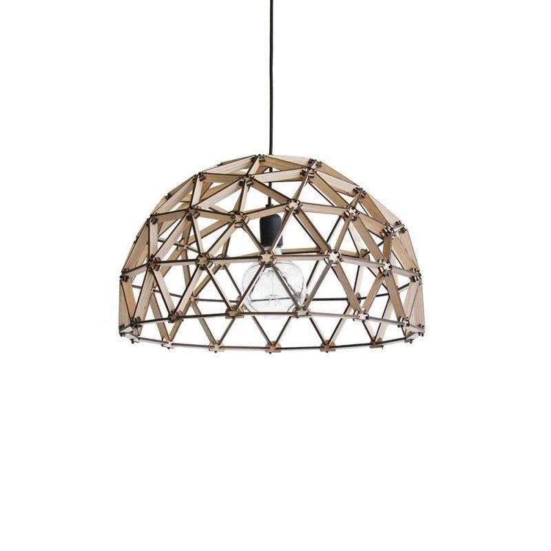 Koepellamp ø60 cm van Binthout is een opengewerkte designlamp van duurzaam hout bij Studio Perspective.