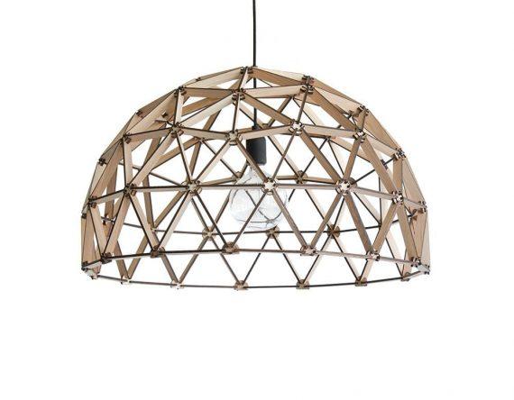 Koepellamp ø75cm van Binthout is een unieke opengewerkte hanglamp van duurzaam hout bij Studio Perspective.