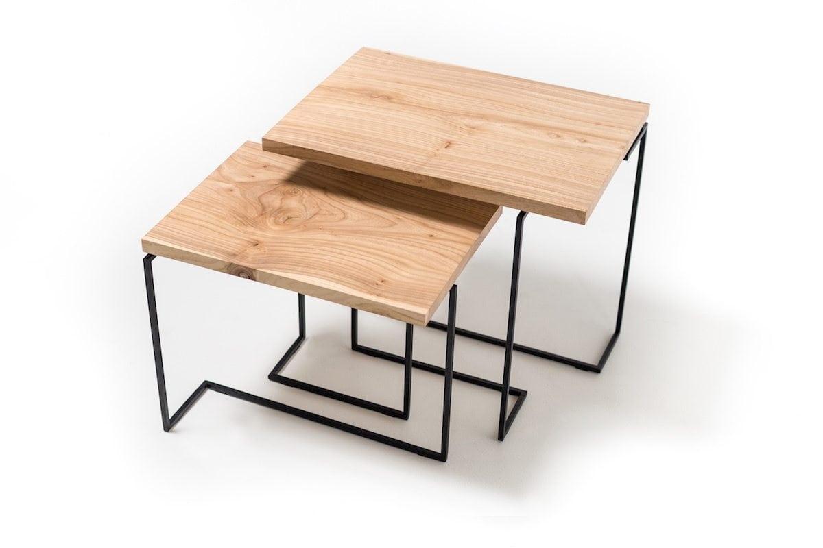 Salontafels De Wissel is een combinatie van twee prachtige duurzame salontafels van Plankstaal bij Studio Perspective.