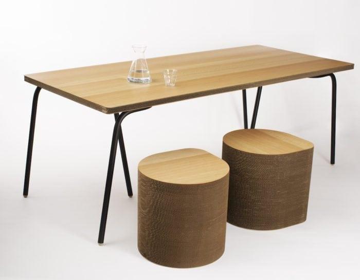 De Cartoni Design Table AMS 01 is een duurzame design tafel gemaakt van karton. Duurzaam Dutch Design bij Studio Perspective.