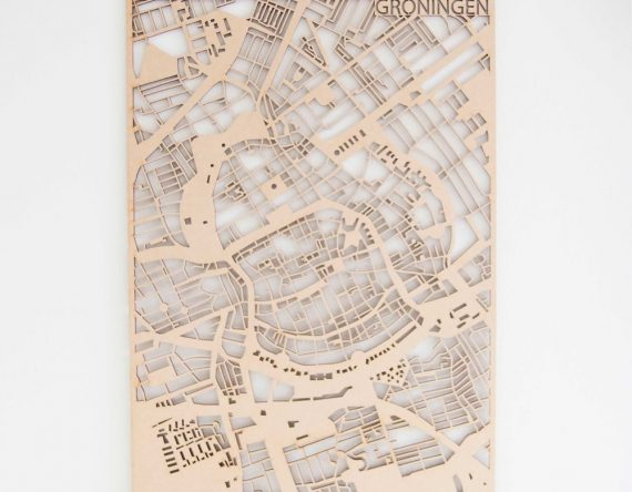 PlanqKaart Houten Stadskaart Groningen is een houten stadsplattegrond van het centrum van Groningen bij Studio Perspective.