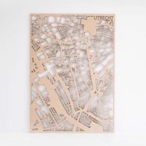 PlanqKaart Houten Stadskaart Utrecht is een houten stadsplattegrond van het centrum van Utrecht bij Studio Perspective.