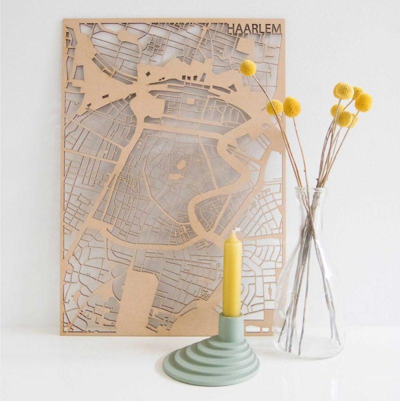 PlanqKaart Houten Stadskaart Haarlem is een houten stadsplattegrond van het centrum van Haarlem bij Studio Perspective.