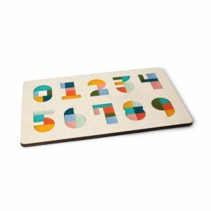 CRE8 Cijferpuzzel multi color houten kinderpuzzel