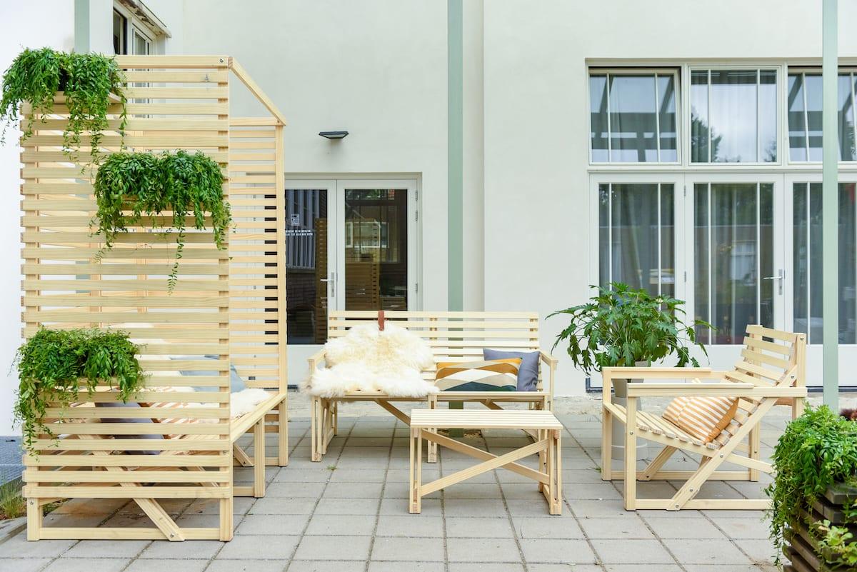 Weltevree tuinset gemaakt van milieuvriendelijk en duurzaam Accoya hout.