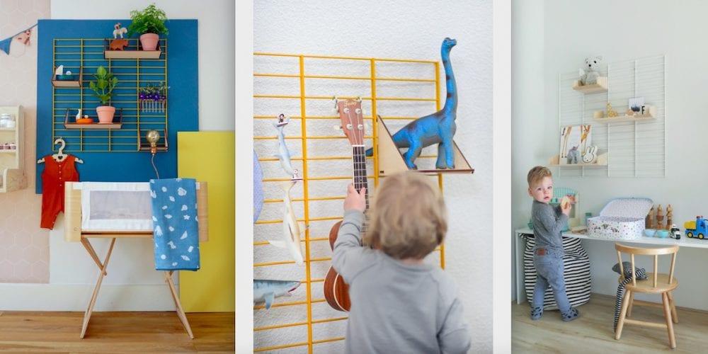 origineel wandrek met verplaatsbare plankjes voor de kinderkamer bij Studio Perspective