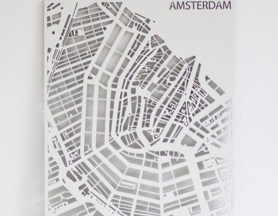 Amsterdam Stadskaart PlanqKaart wit