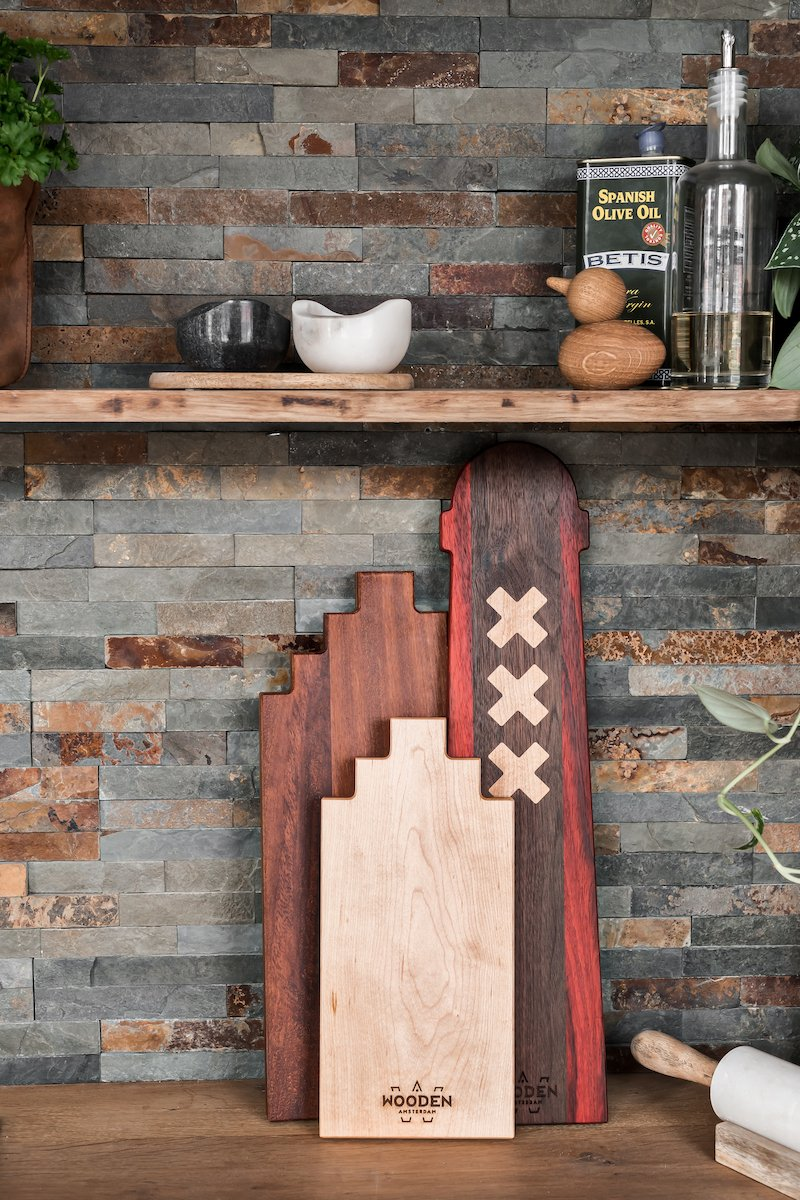 Serveerplanken van duurzaam hout Amsterdammertjes Wooden Amsterdam