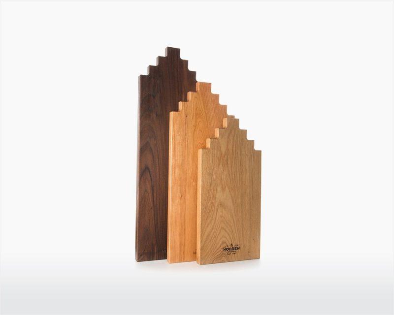 Wooden Amsterdam Serveerplank eiken in de vorm van een grachtenpand
