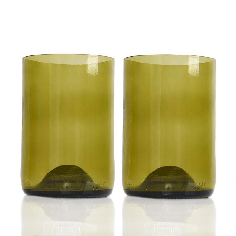 Rebottled glas duurzaam geschenk amber 2-pack Studio Perspective