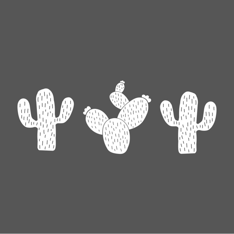 muursticker 3 cactussen wit kinderkamer