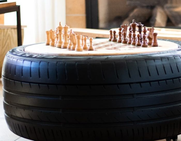Speeltafel game tafel binnen autoband Studio Perspective