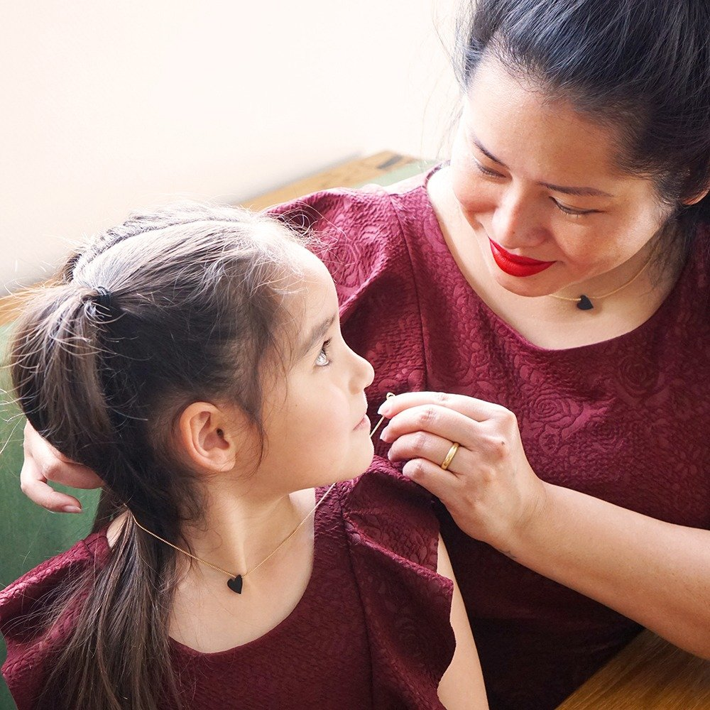 Ketting hartje cre8 moeder en dochter