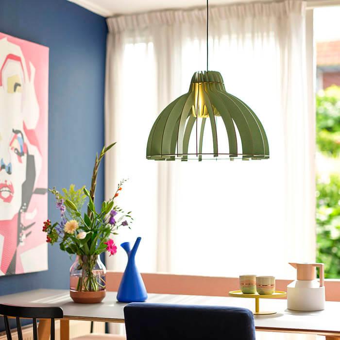 eettafel hanglamp design hout groen