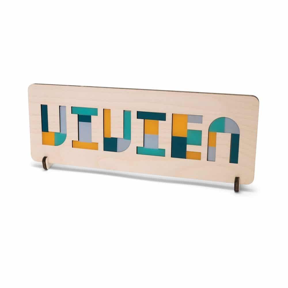 maak van je puzzel een naambordje met de houten puzzel standaard
