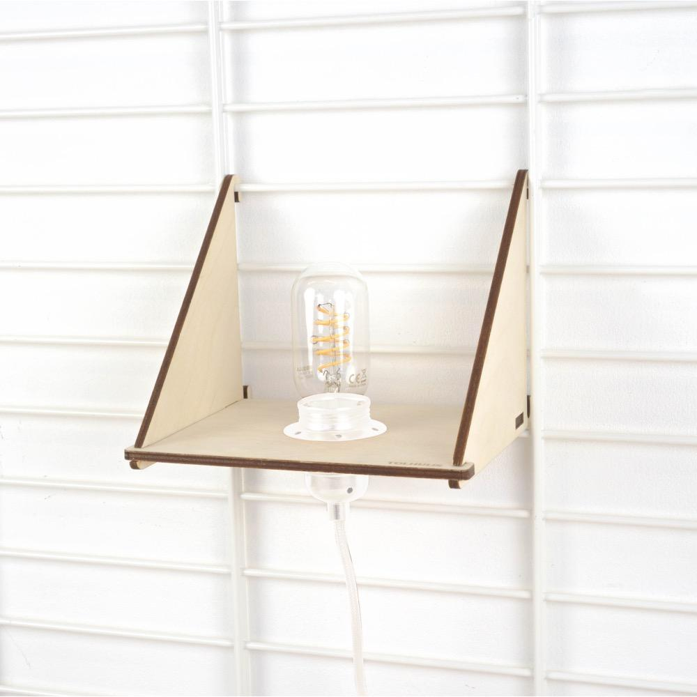 Fency wandrek plankje met langwerpige led lamp zwart