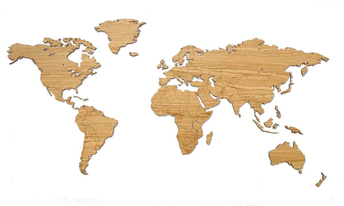 Houten wereldkaart met landsgrenzen