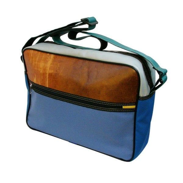 Traveller Bag Nagano schoudertas van gerecyclede materialen leer en kunststof rood geel blauw