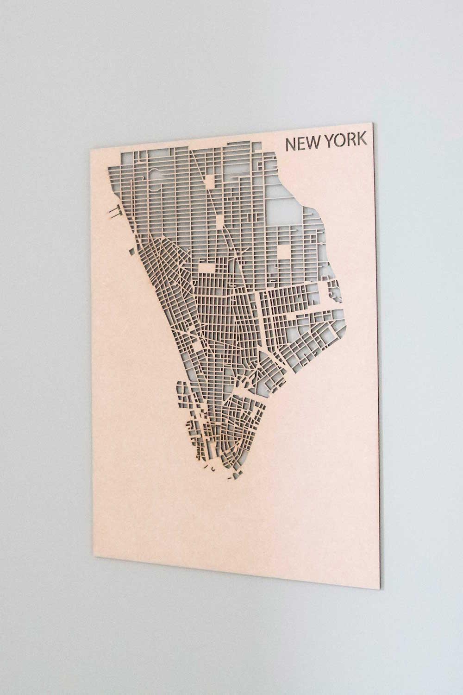 PlanqKaart Houten Stadskaart New York is een houten stadsplattegrond van New York voor aan de muur.